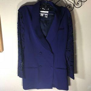 Vintage Jackets & Coats - LULU BRAVO Lace Sleeve Slim Vintage Blazer Blue